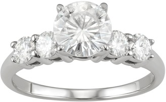 14K White Gold 1 3/8 Carat T.W. Lab-Created Engagement Ring