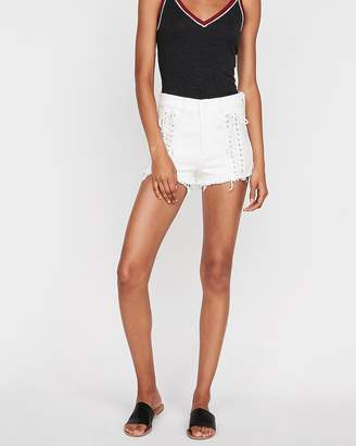 Express High Waisted Raw Cut Lace Up Stretch Denim Shorts