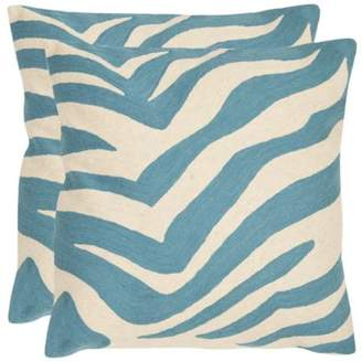 Safavieh PIL101C Square Blue Rain Urban Spice Pillow from the Chainstitch Collec