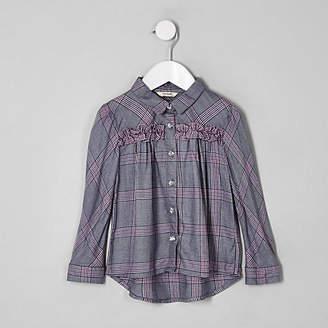 River Island Mini girls purple ruffle check shirt