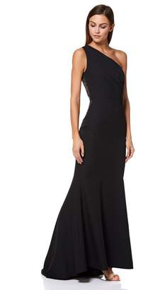 Jarlo Womens One Shoulder Fishtail Gown Sheer Lace - Black