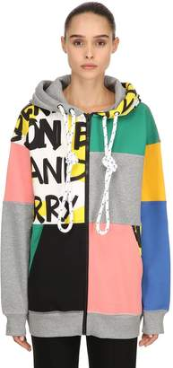 Burberry Hooded Patchwork Zip-Up Sweatshirt