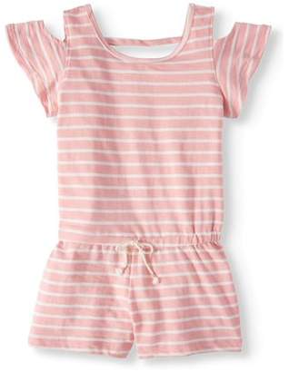 ONE STEP UP French Terry Striped Cold Shoulder Romper (Big Girls)