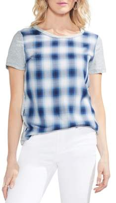 Vince Camuto Mixed Media Plaid Tee