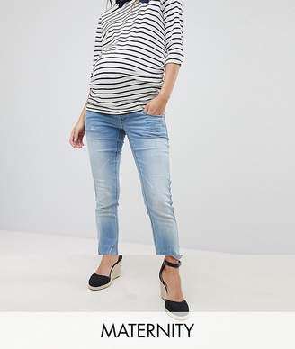 Mamalicious Jeans With Maternity Band - Blue Mama Licious nthazOjG