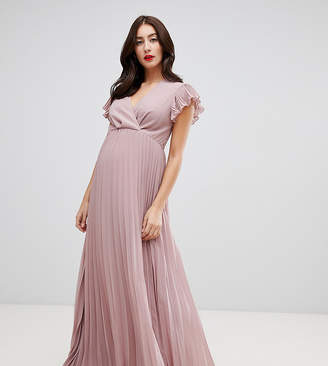 Asos DESIGN Maternity pleated maxi dress with flutter sleeve