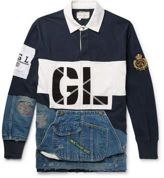 ee27778223c Greg Lauren Panelled Distressed Cotton-Jersey and Denim Rugby Shirt - Men -  Navy