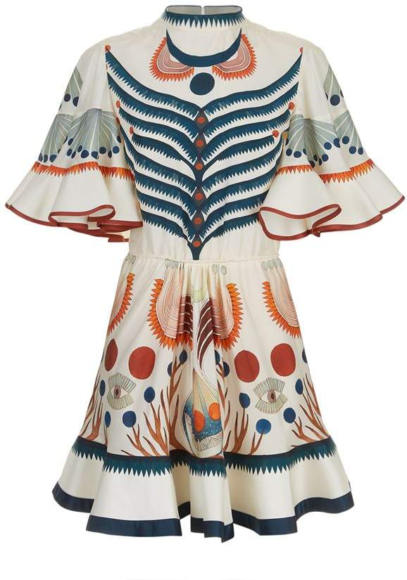 Surreal Print Ruffle Sleeve Dress