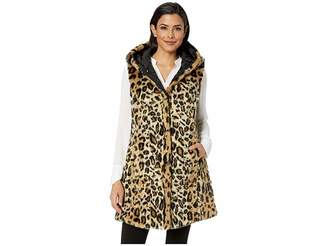 Via Spiga Reversible Long Hooded Faux Fur Vest Women's Vest