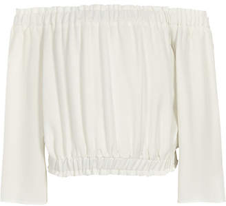 River Island Girls white bardot flare sleeve cropped top
