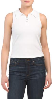 Tresics Juniors Sleeveless Polo Collar Zip Up Tank