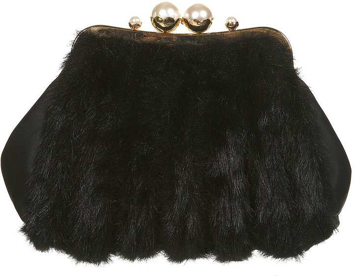 Fur Pearl Frame Clutch Bag