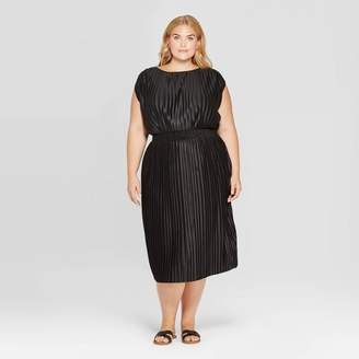 Prologue Women's Plus Size Short Sleeve Crewneck Pleated Cinched Waist Midi Dress - Prologue