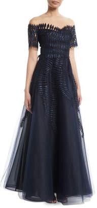Oscar de la Renta Short-Sleeve Embellished Tulle Ball Gown