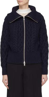 Self-Portrait Cropped cotton-wool cable knit zip cardigan