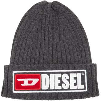 Diesel Logo Wool & Cotton Knit Beanie Hat