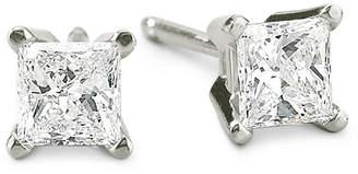 JCPenney FINE JEWELRY 1/2 CT. T.W. Princess-Cut Diamond 14K White Gold Stud Earrings