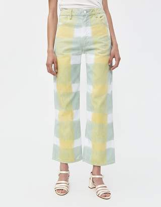 Eckhaus Latta Wide Leg Jean in Yellow Grid