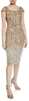 Parker Black Rosanna Square-Neck Beaded Cocktail Dress w/ Feathers