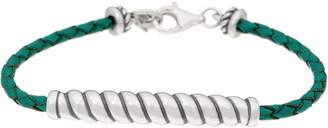 American West Sterling Silver Braided Leather w/Rope Station Bracelet
