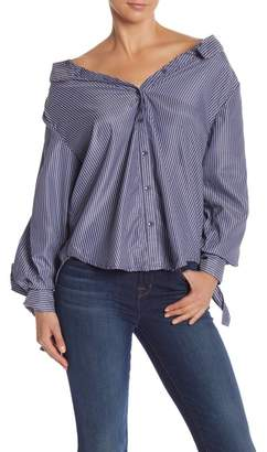 Do & Be Do + Be Pinstripe Off-the-Shoulder Shirt
