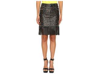 Jeremy Scott Studded Leather Fringe Skirt Women's Skirt