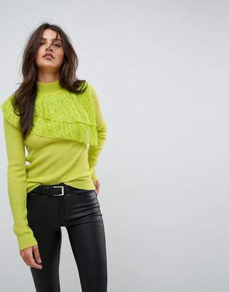 Asos DESIGN Sweater with Pleated Lace Ruffle