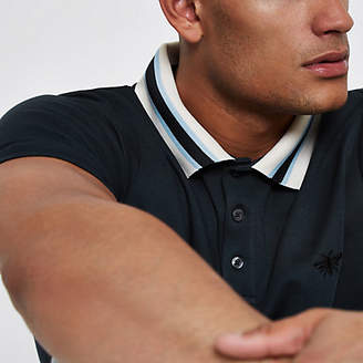 River Island Mens Navy slim fit striped collar polo shirt