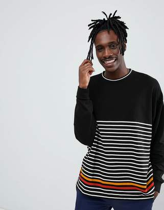 Asos DESIGN oversized long sleeve t-shirt with highlight stripe and tipped rib