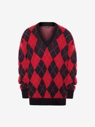Alexander McQueen Wool Mohair Argyle V-Neck Sweater