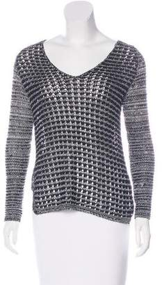 Helmut Lang Open-Knit V-Neck Sweater