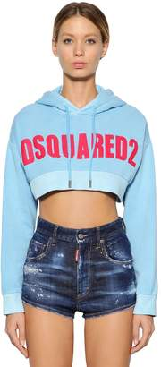 DSQUARED2 Logo Print Cropped Sweatshirt Hoodie