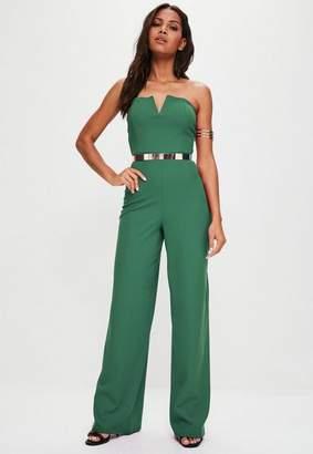 Missguided Green V Bandeau Wide Leg Romper