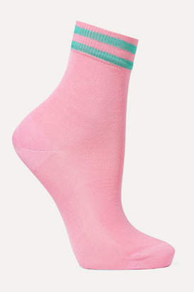 Maria La Rosa Striped Silk-blend Socks - Baby pink