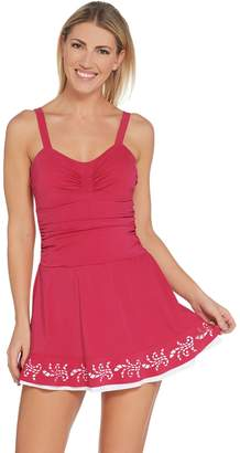 Denim & Co. Beach Ruched Swim Dress with Laser Cut Hem