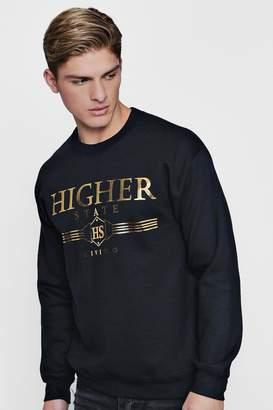 boohoo Higher State Foil Print Sweater