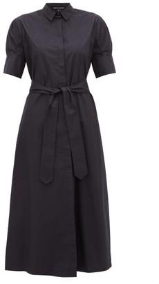 story. White Antonia Tie Waist Cotton Shirtdress - Womens - Navy