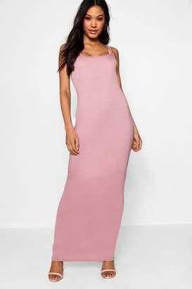 boohoo Square Neck Basic Jersey Maxi Dress