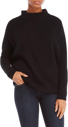 Vertical Design Cashmere Cowl Neck Sweater