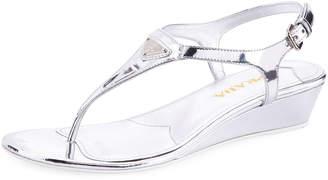 Prada Metallic Patent Demi-Wedge Thong Sandal