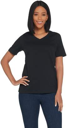 Joan Rivers Classics Collection Joan Rivers Wardrobe Builders V-Neck Tee w/ Short Sleeves