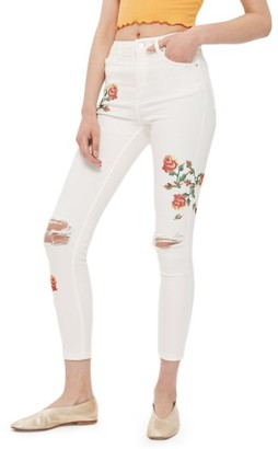 Topshop Petite Women's Jamie Embroidered Skinny Jeans