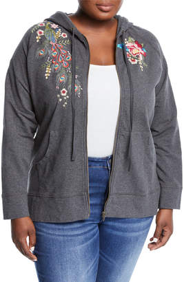 Johnny Was Vernazza Embroidered Zip-Front Hoodie Jacket, Plus Size