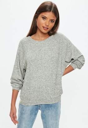 Missguided Gray Brushed Crew Neck Sweatshirt