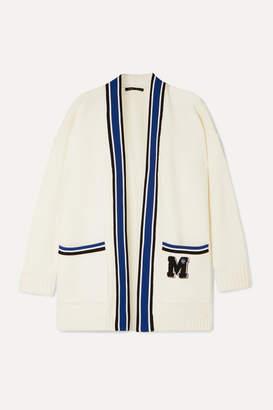 Maje Millenium Oversized Appliquéd Knitted Cardigan - Ivory