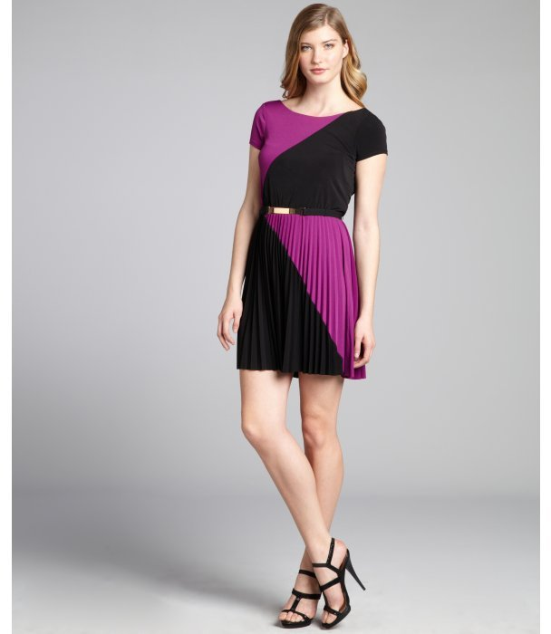 Max & Cleo black and amethyst jersey knit colorblock belted 'Ericka' dress