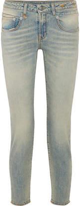 R 13 Boy Cropped Slim Boyfriend Jeans - Light denim