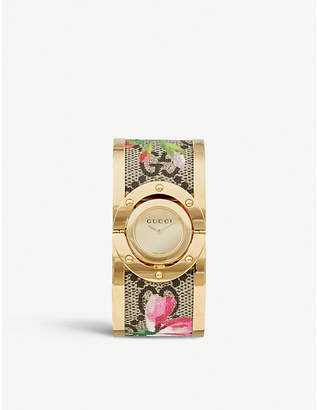 Gucci YA112443 Twirl gold-plated sterling silver and fabric quartz watch