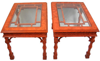 One Kings Lane Vintage Chippendale-Style Side Tables - Set of 2 - Acquisitions Gallerie