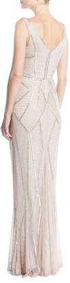 Rachel Gilbert V-Neck Sleeveless Beaded Embellished Evening Gown